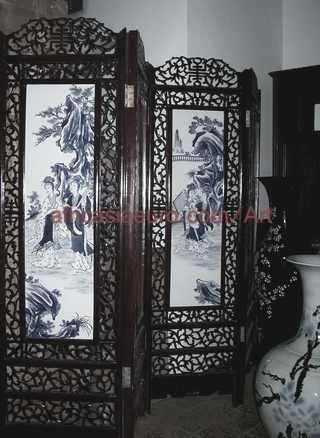 africasiaeuro art carved screen with hand painted porcelain